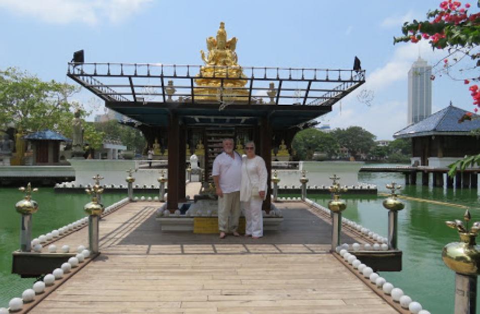 Deborah and Peter Heron at Seema Malakaya Temple. Photo: Deborah Heron