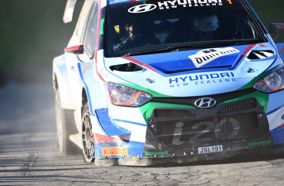 Hayden Paddon and co-driver John Kennard had a puncture in the Dunedin special stage on Saturday...