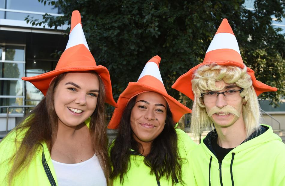 On their way to the Hyde St Party are (from left) Marianne Hyslop (18), of Levin, Maia Black (19)...