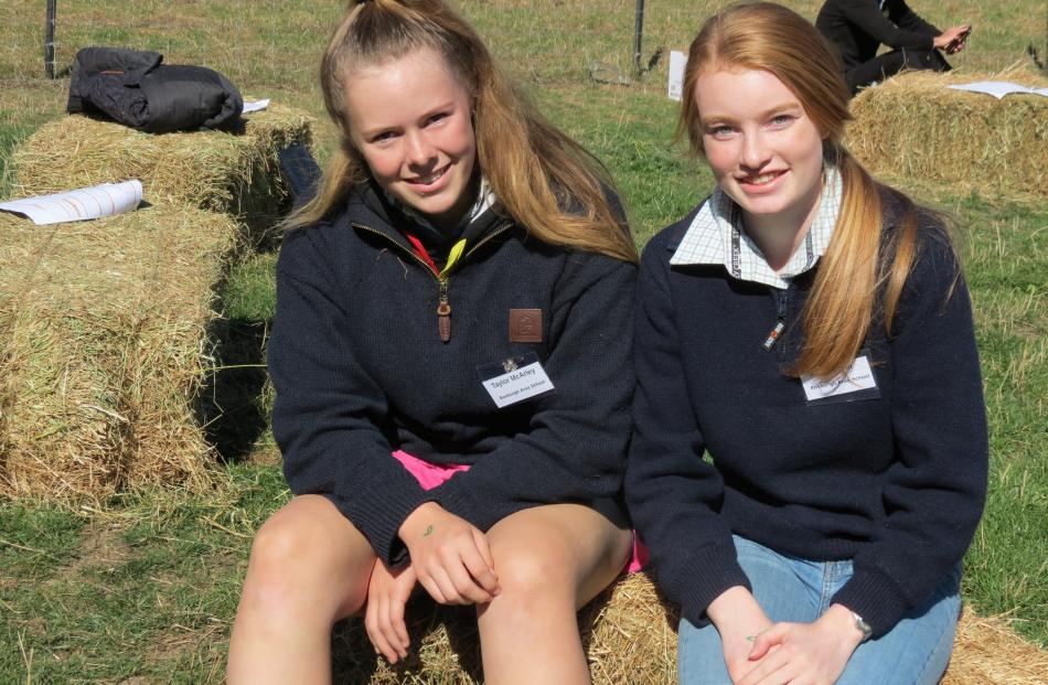 Enjoying the careers day at Mount Grand Station are Roxburgh Area School pupils Taylor McArley ...