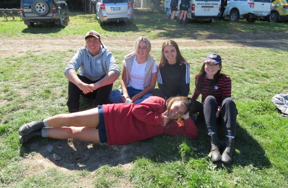 Enjoying a lunch break at the agriculture careers day at Mount Grand Station on Monday last week...