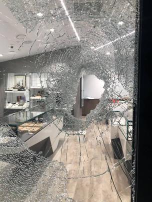 Damage at Jamies Jewellers following the burglary. Photos supplied