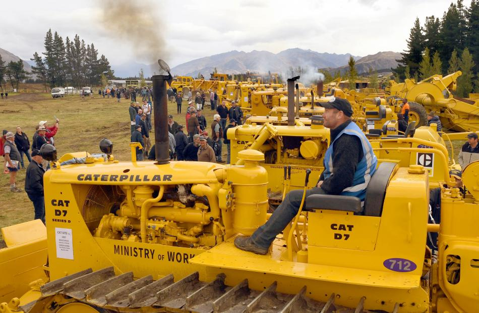 Paul Clarke, of Dunedin, fires up a 1957 Ministry of Works D7 at the weekend. Mr Clarke and his...