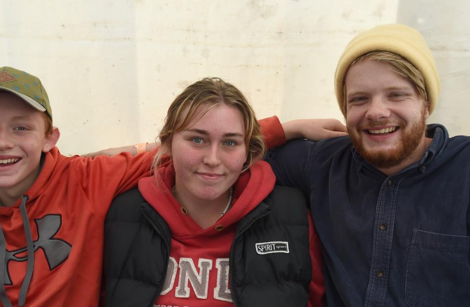 Jayden Bishop (14), Nicole Phillips (14) and Martin Hannah, all of Dunedin.