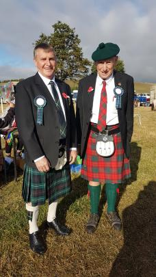 Show president Gordon Handy, (left) and vice-president Bryan McNab donned kilts for the show. Photos: Supplied