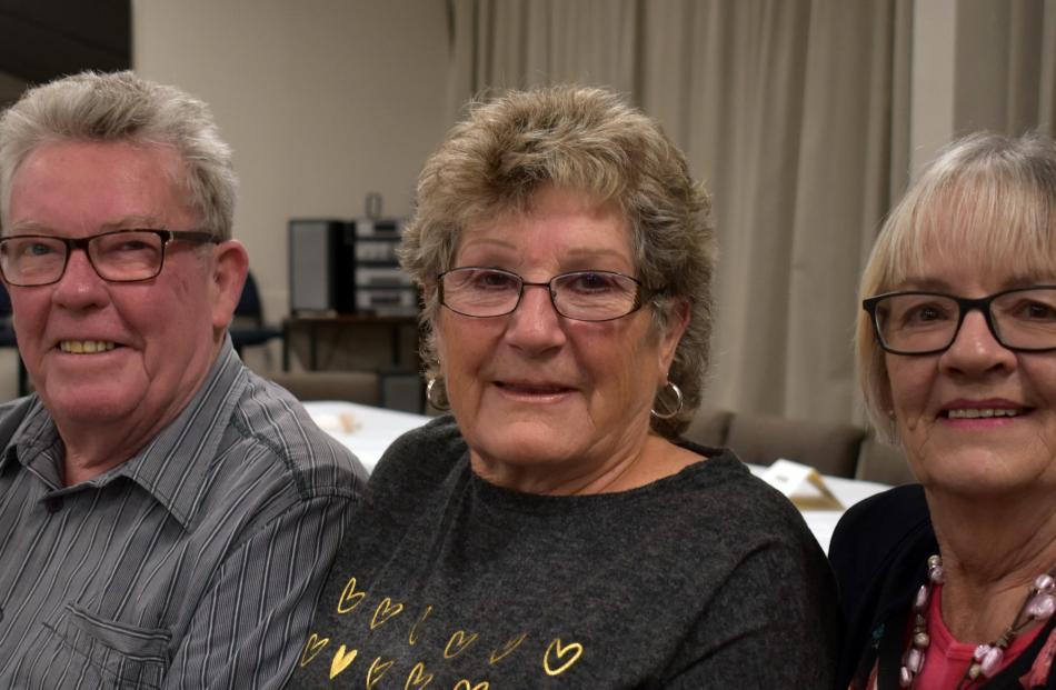 Bruce Smith (Fairfield), Lyn Hellyer (Taieri) and Sylvie Smith (Fairfield).