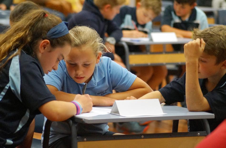 Waitaki Valley School pupils (from left) Bessie Heyes, Charlotte Thornley and Matthew Herbst (all...