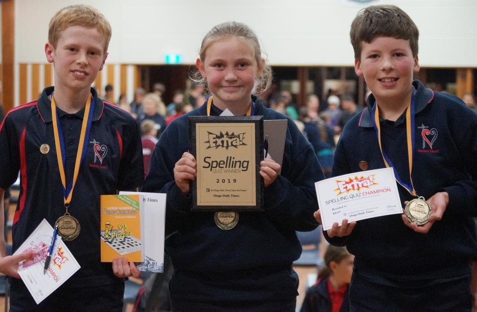 Sacred Heart School pupils (from left) Daniel van De Spuy (11), Maddy Green (10) and Jed Fenwick ...