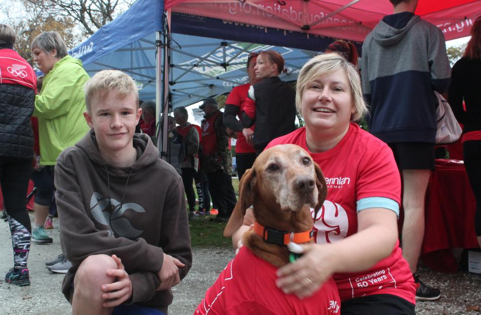 Patrick (14) and Megan Howes, and their dog Teca, take part in the Invercargill event. PHOTO:...