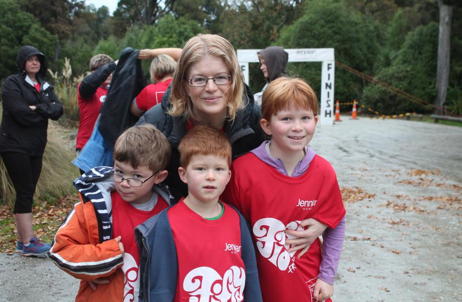 Rachel Strang, with (from left) nephew Tom Miller (6), and her children Logan (5) and Ella Strang...