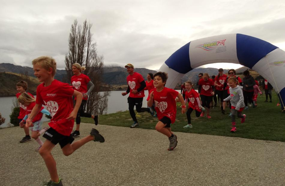 Many children raced from the start at Lake Hayes yesterday. PHOTO: GUY WILLIAMS
