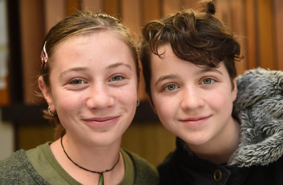 Georgie Phillips and Hazel McCabe (both 12), both of Dunedin.