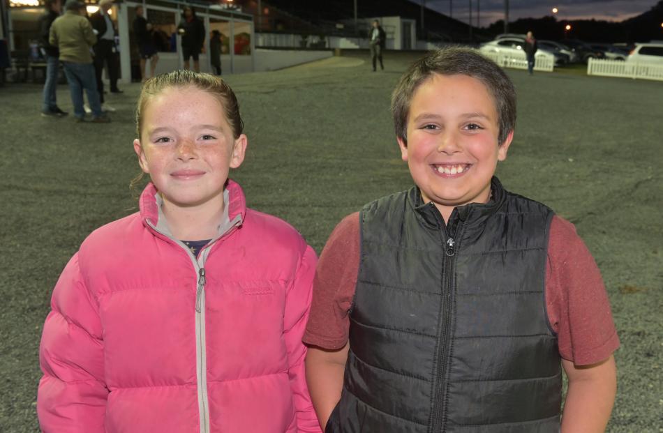 Cousins Sophia Harvey (10) and Luke Sempers (9), both of Dunedin.
