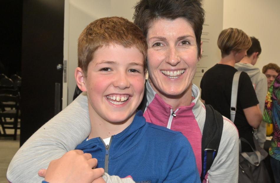 Fin Mouat (10) and his mother Ruth Zeinert, of Dunedin.