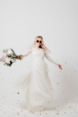 ''The wedding dress was a late entry picked up the day before the shoot. We tried it on and we're...