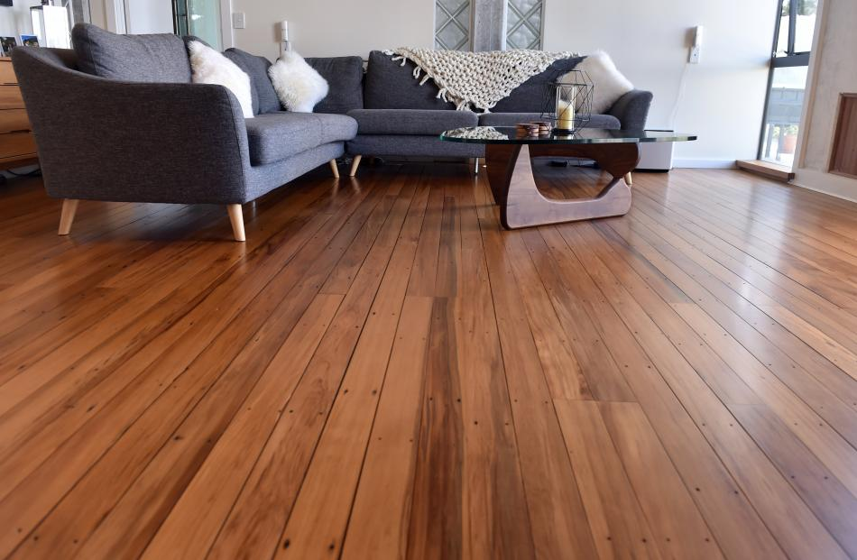 The heart rimu flooring came from the demolition of 1920s classrooms at the Alexandra Primary...