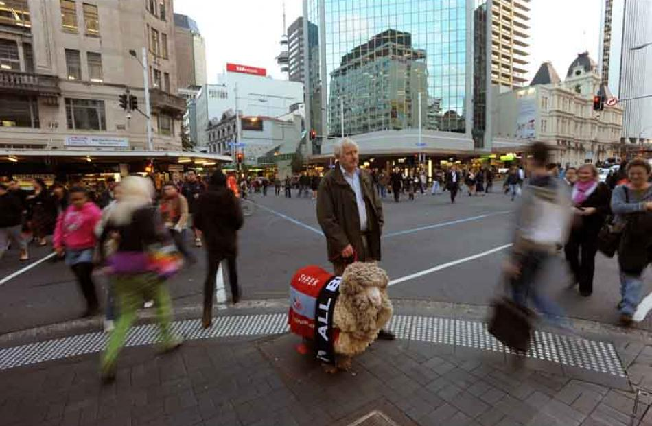 John Perriam and Shrek cause Auckland central office-workers do a double take on Lower Queen St.
