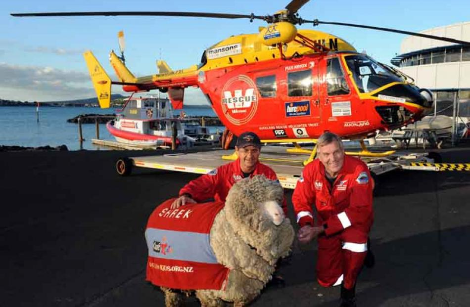 A frequent flyer himself, Shrek meets the Auckland Westpac Rescue Helicopter crew.