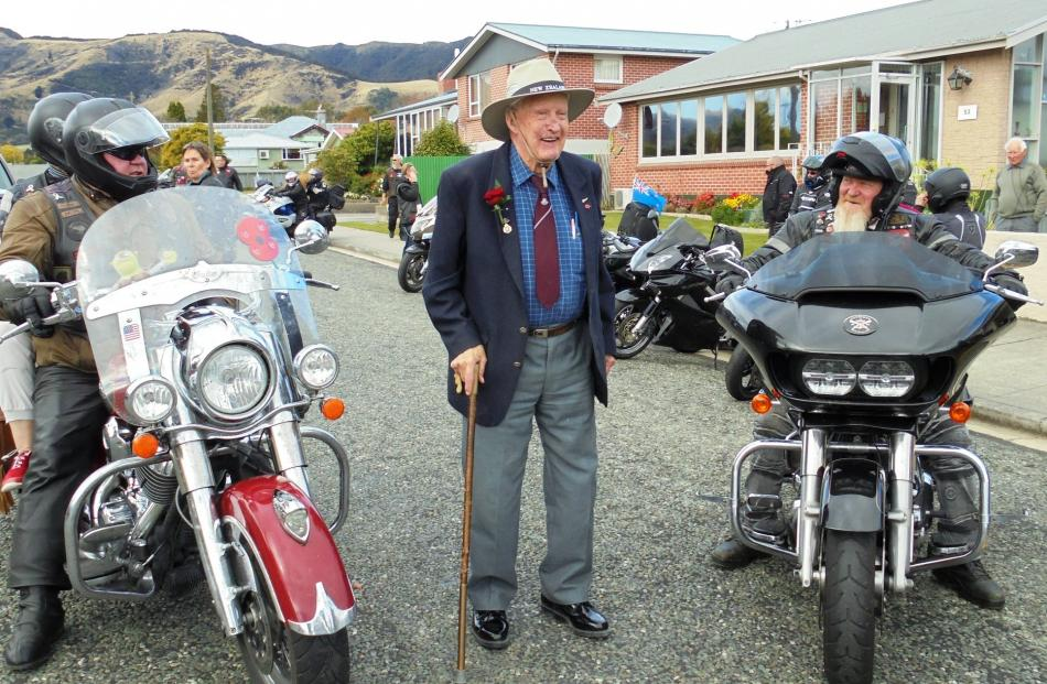 Patriots Deep South Motorcycle Club President Phil Herriott and club Padre Keith Turner chat with...
