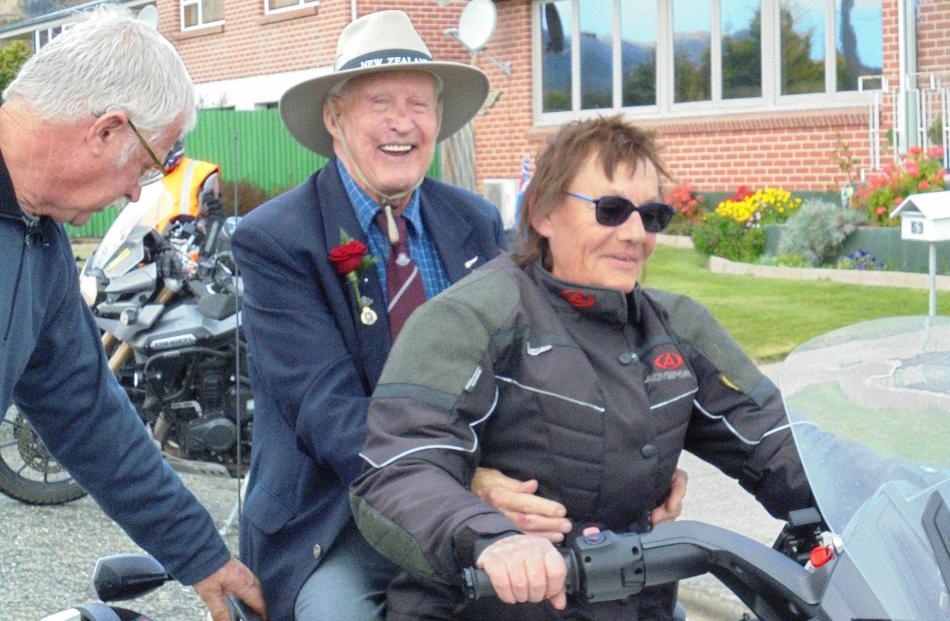 Joan Gibbon of Dunedin treats Bill Ralston to a ride around Tapanui on her Canam Spyder.