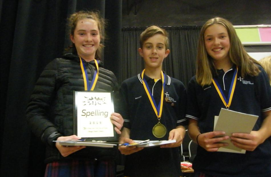 Holy Family Catholic School Wanaka pupils (from left) Annie Wells, Jack Sanford and Isabel...