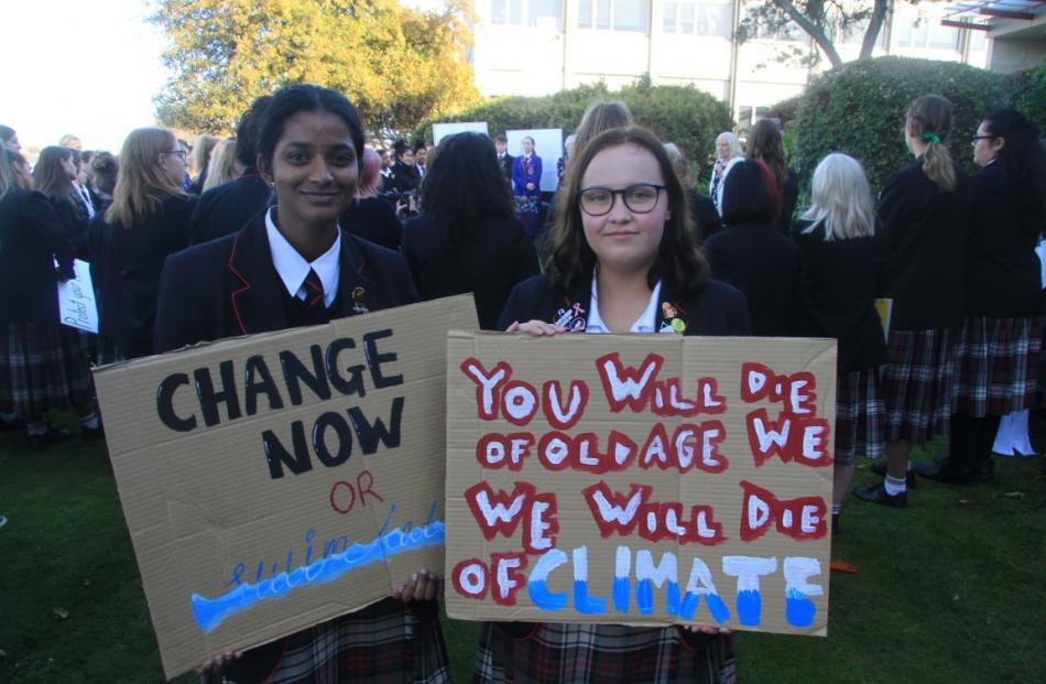 Attending today's protest action at Waitaki Girls' High School, in Oamaru, Sai Sukumar (17), left...