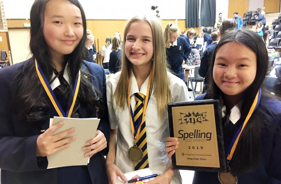 Winners of the year 9 and 10 spelling quiz held last night in Cromwell are the Wakatipu High...