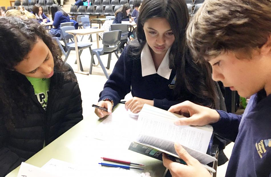 Cromwell College pupils (from left) Victoria Duarte (13, year 9), Aylla Nascimento (14, year 10)...