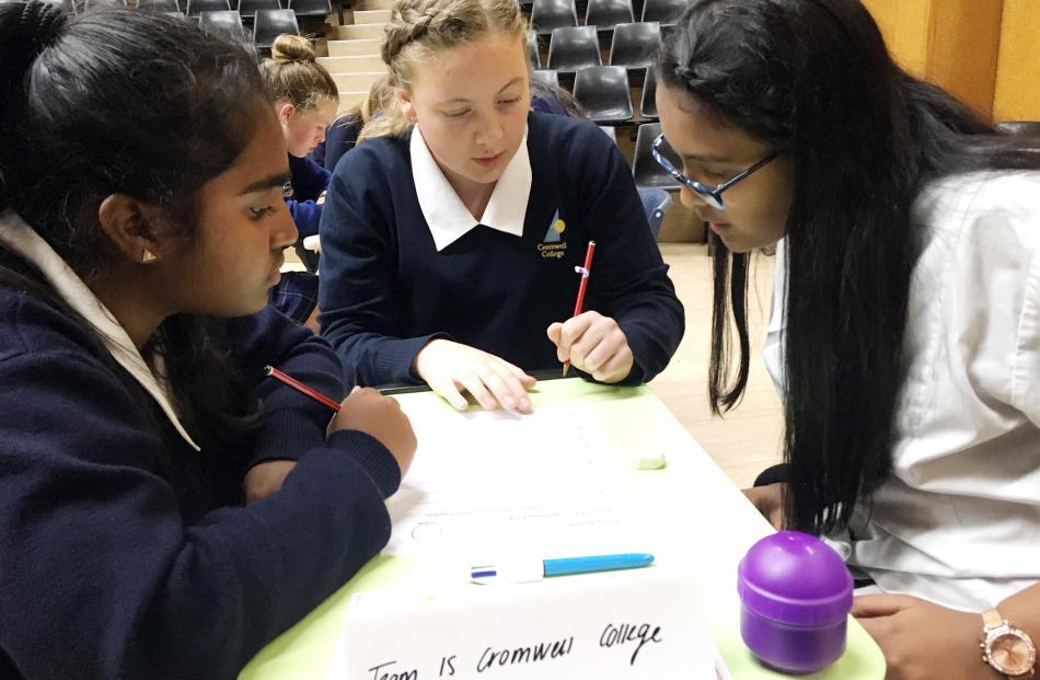Cromwell College year 9 pupils (from left) Rohansa Ganewatta (14), Erika Wilson (13) and Anthea...