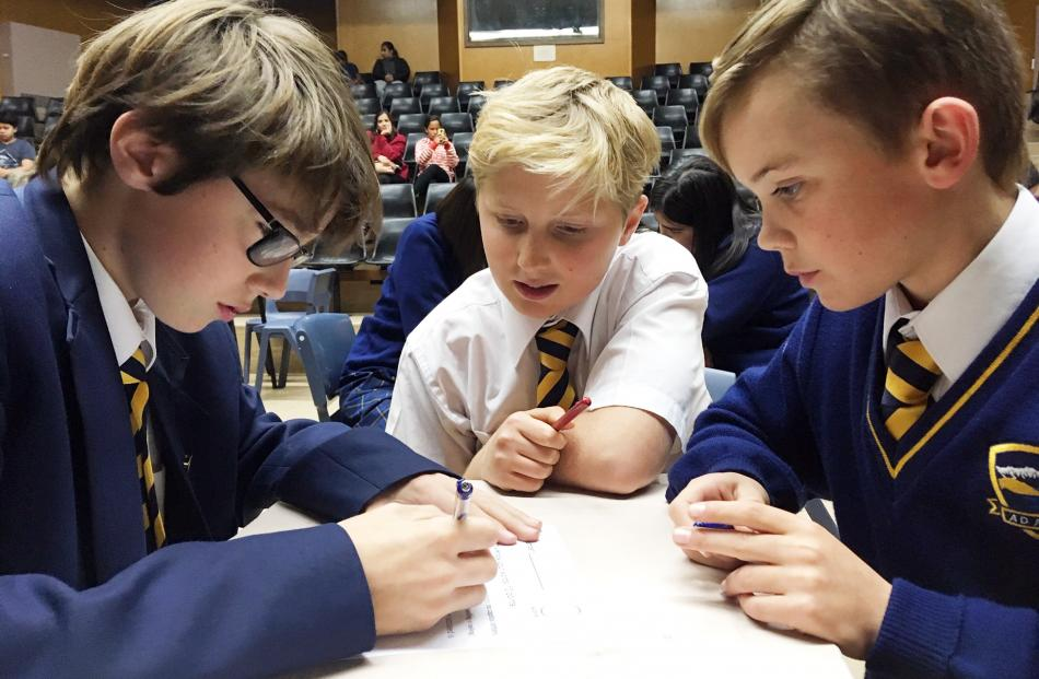 Wakatipu High School year 9 pupils (from left) Jack Speedy (13), Luca Hall (14) and Oliver...