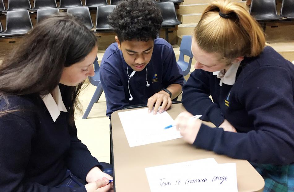 Cromwell College year 10 pupils (from left) Bessie Fox, Richard Fukofuka and Charlize Thomson ...