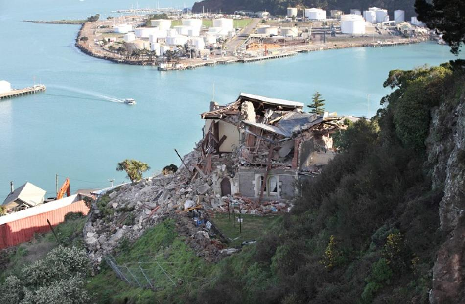 Lyttelton's historic timeball station, which was damaged in earlier quakes.
