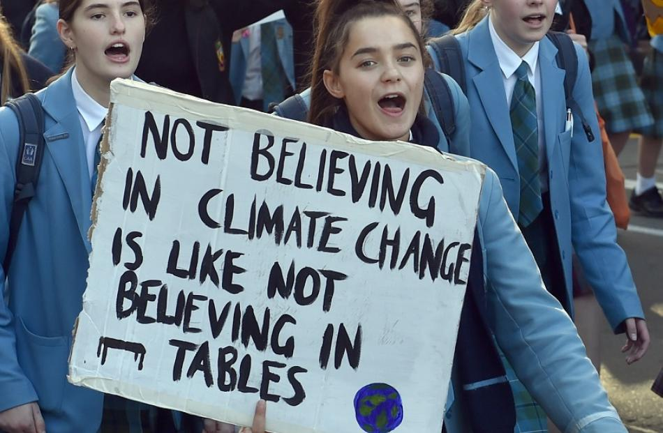 The 2019 Climate change protest from the Dental School to the Octagon in Dunedin on Friday....