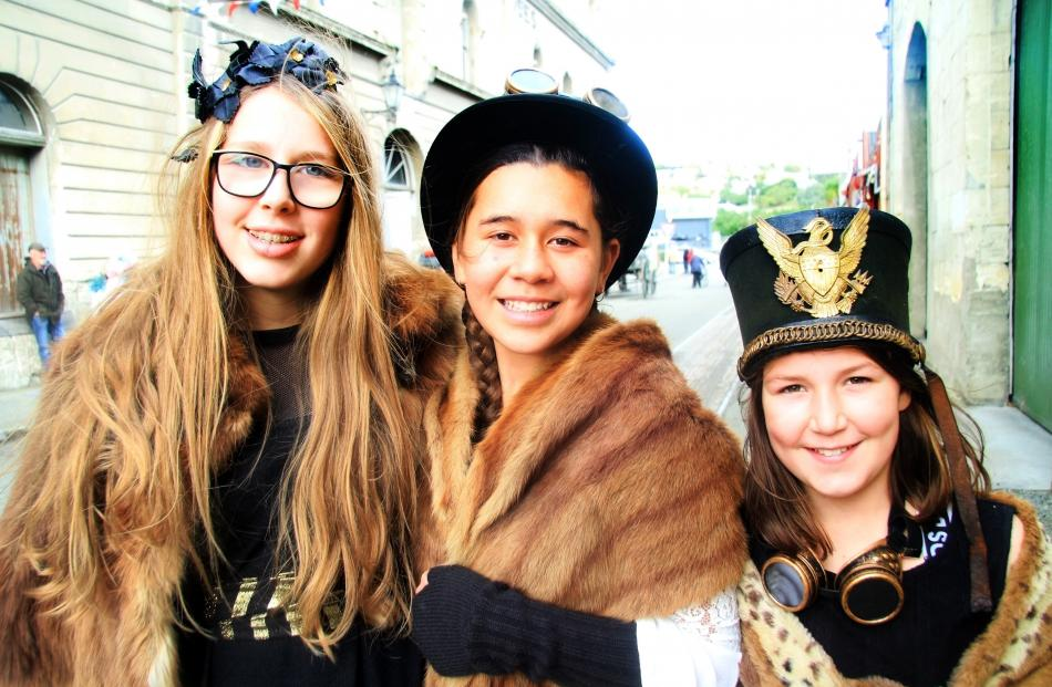 Proving that steampunk appeals to young and older alike are Isla Menzies (13), left, Ava Bella...