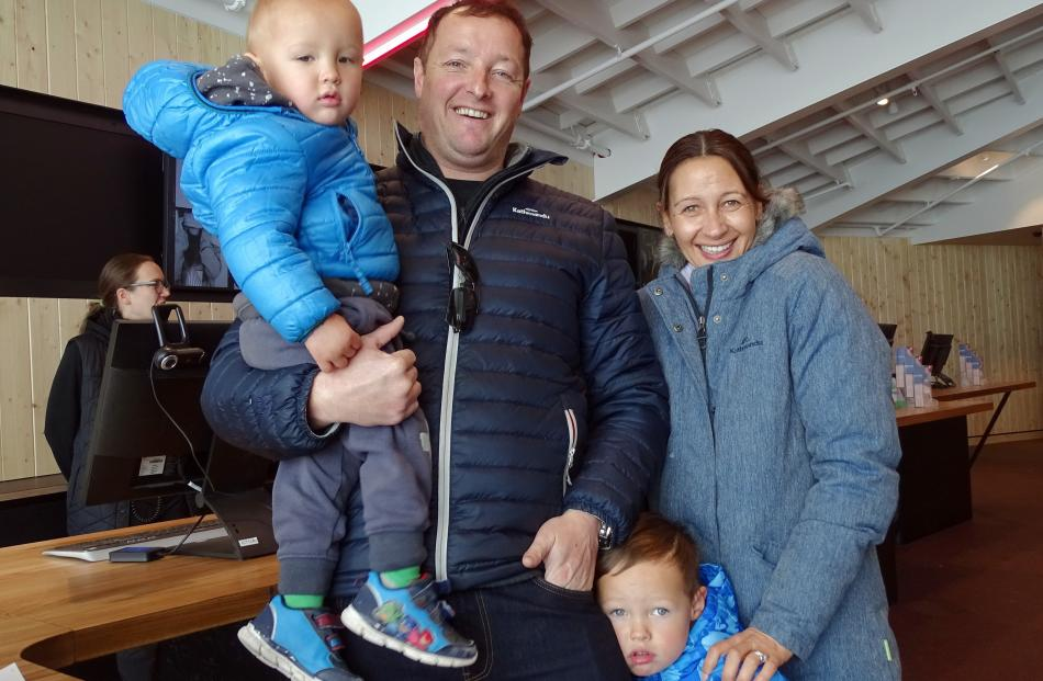 Cody (1), Kirk, Fergus (4) and Renee Hawkins, all of Dunedin.