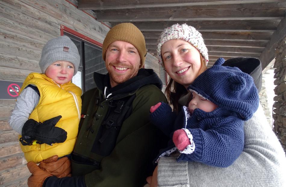 Beau (2), Scott, Ash and Ella (10 weeks) Bickley, all of Wanaka.