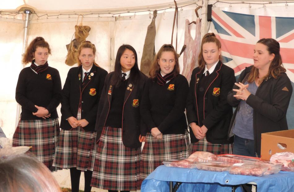 Waitaki Girls' High School Young Farmers Club members (from left) Trudy McLeod (year 12),...