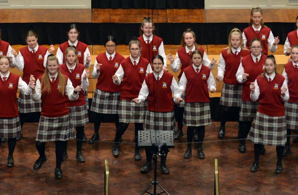 Dunstanza Senior Girls ( Dunstan High School )perform during the Big Sing at the Dunedin Town...