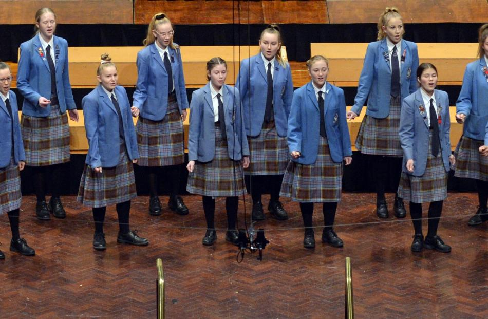 Vocarmony (Queens High School) perform during the Big Sing at the Dunedin Town Hall yesterday.