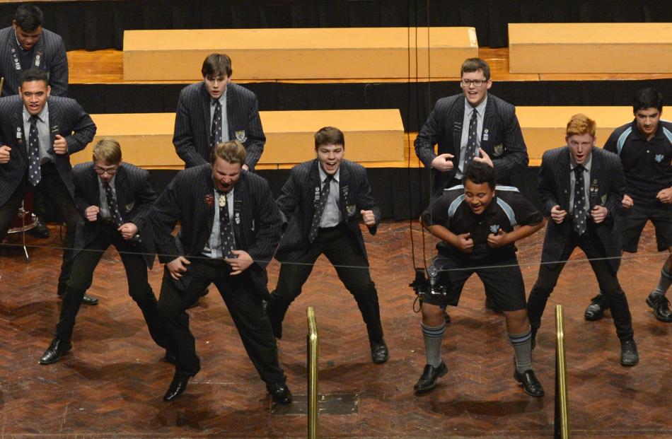 ACafellas (King's High School) perform during the Big Sing at the Dunedin Town Hall yesterday.