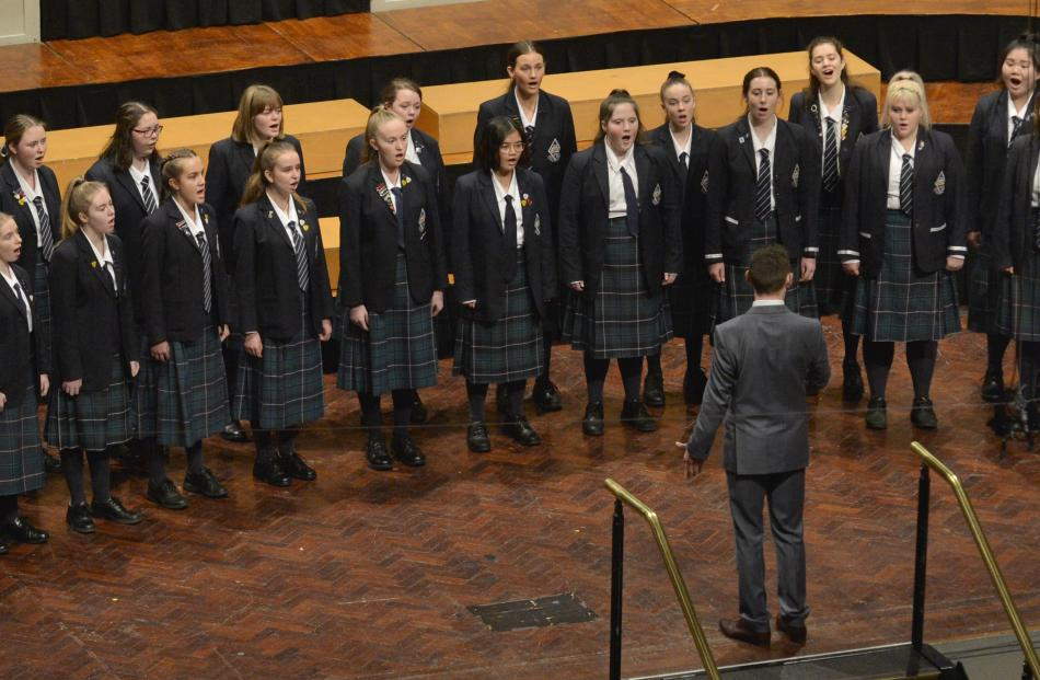 The Otago Girls' High School choir perform during the Big Sing at the Dunedin Town Hall yesterday.