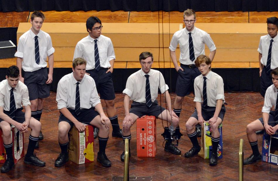 Timaru Boys' High School choir perform during the Big Sing at the Dunedin Town Hall yesterday.
