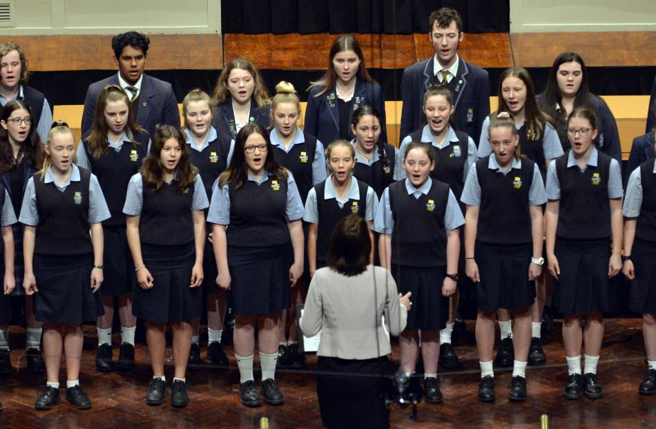 The Taieri College choir perform during the Big Sing at the Dunedin Town Hall yesterday.