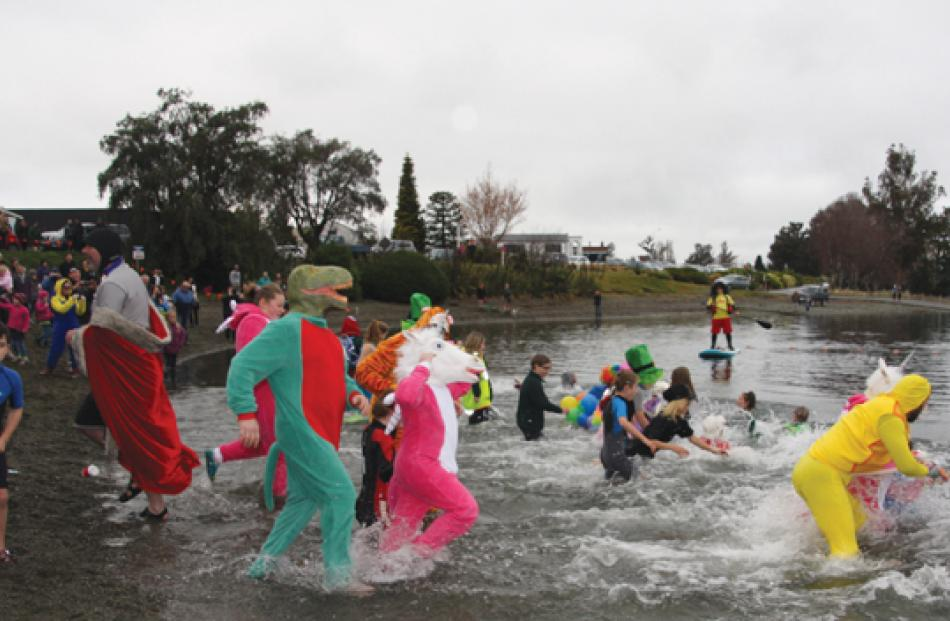 Big splash at the Te Anau School annual Polar Plunge.