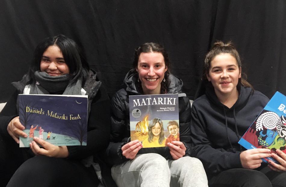 Arahina Wilson (15), Bri Scarfe (18) and Myah Turnbull (13), all of Alexandra.