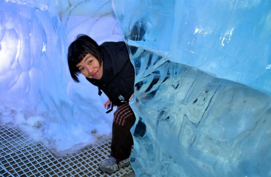 Artificial ice cave in Wonders of Iceland exhibition. The ice is from real glaciers.