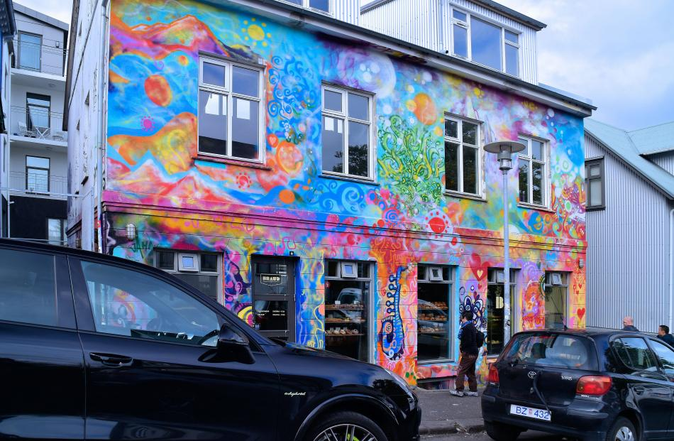 Graffiti decorates a bakery in Reykjavik, the capital of Iceland.
