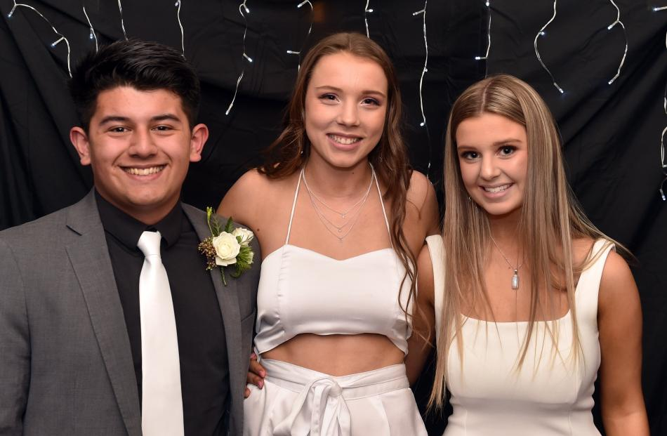 Mitchell Lee (18), of Otago Boys' High School, Lucy Merriman (17) and Serena Paine (16), both of...