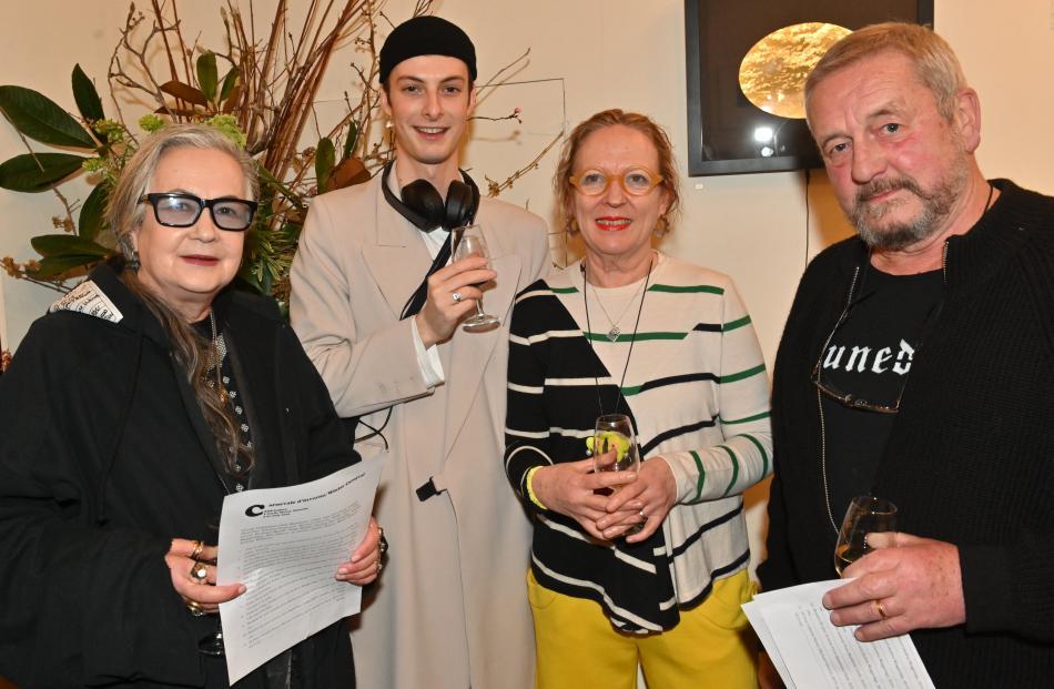 Margi Robertson, Krue Love, gallery partner Marie Strauss and Chris Robertson, all of Dunedin.