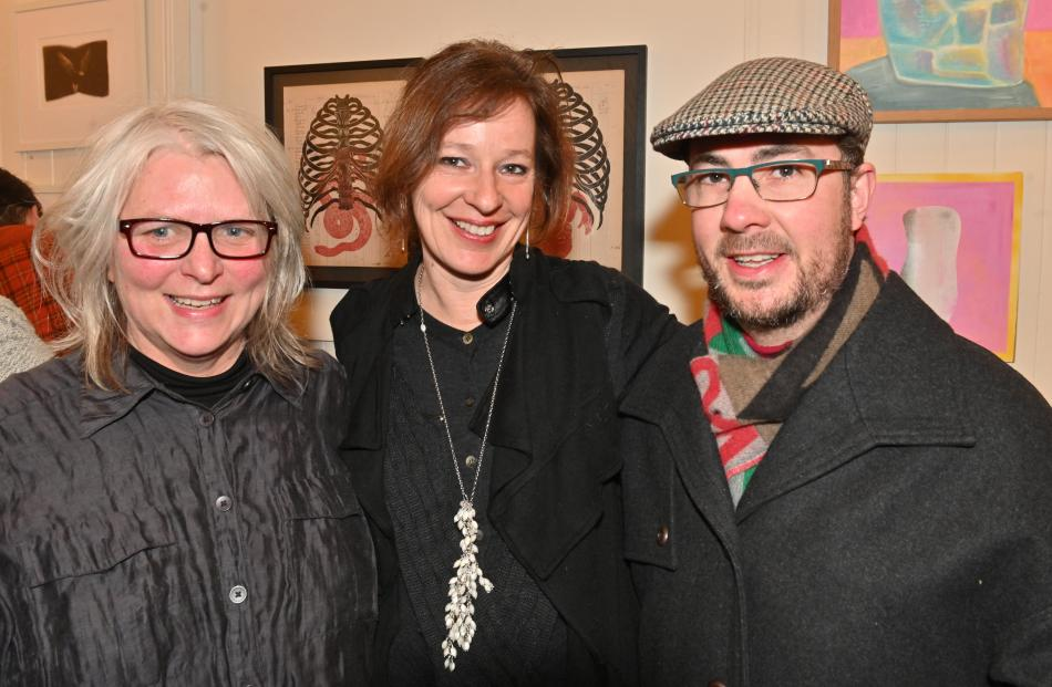 Kim Pieters, gallery partner Inge Doesburg and Murray Eskdale, all of Dunedin.
